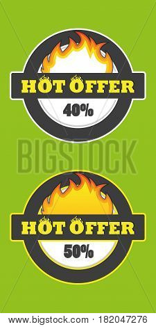 Hot offer badge, price and deal banner flame sticker promo sale business icon