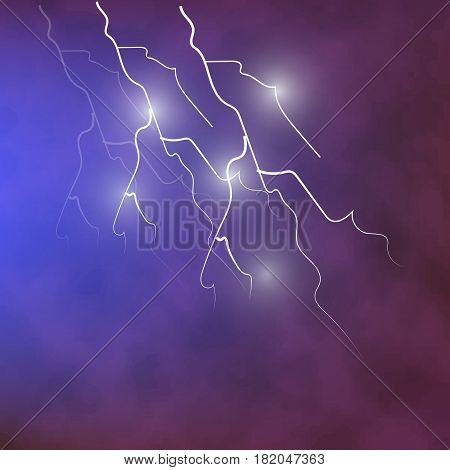 Lightning in the dark cloudy sky. Vector drawn illustration.