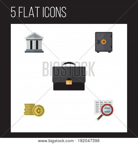 Flat Gain Set Of Strongbox, Cash, Portfolio And Other Vector Objects. Also Includes Bank, Coin, Scan Elements.