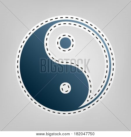 Ying yang symbol of harmony and balance. Vector. Blue icon with outline for cutting out at gray background.