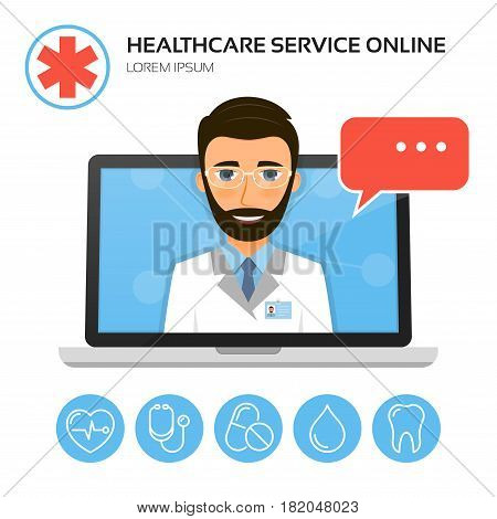 Healthcare service online. Medical consultation concept with male doctor on the laptop screen. Vector illustration.