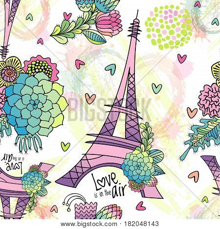 Abstract seamless pattern with Eiffel tower, succulent, leaves and brush strokes. Love is in the air phrase.