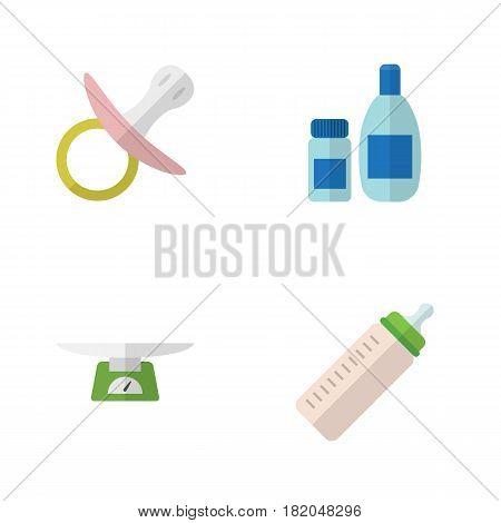 Flat Kid Set Of Nipple, Feeder, Cream With Lotion And Other Vector Objects. Also Includes Nipple, Children, Scales Elements.