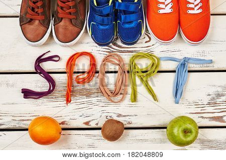 Orange, kiwi and sport footwear. My simple health life.