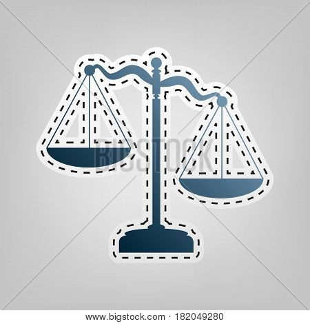 Scales of Justice sign. Vector. Blue icon with outline for cutting out at gray background.