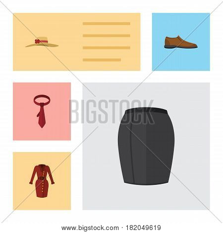 Flat Dress Set Of Male Footware, Elegant Headgear, Stylish Apparel And Other Vector Objects. Also Includes Garment, Hat, Tie Elements.