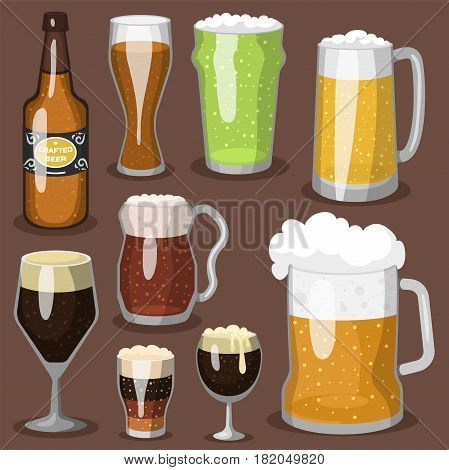 Alcohol beer vector transparent glass illustration celebration refreshment brewery icon and party dark vintage beverage mug frosty craft drink. Brewed bubbles symbol oktoberfest dark liquid.