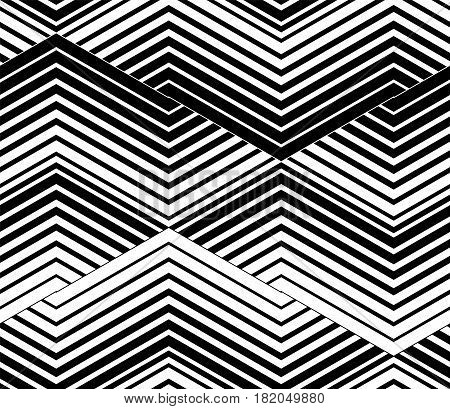 Abstract vector seamless op art pattern. Black and white ornament.