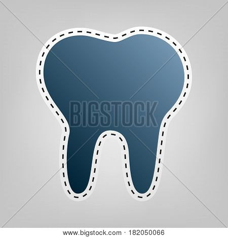 Tooth sign illustration. Vector. Blue icon with outline for cutting out at gray background.