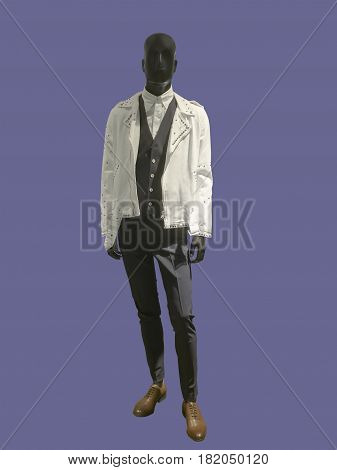 Full-length male mannequin dressed in fashionable clothes isolated. No brand names or copyright objects.