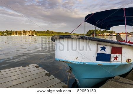 Boat in Bocas del Toro in Panama; Concept for travel in Panama