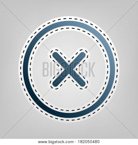 Cross sign illustration. Vector. Blue icon with outline for cutting out at gray background.