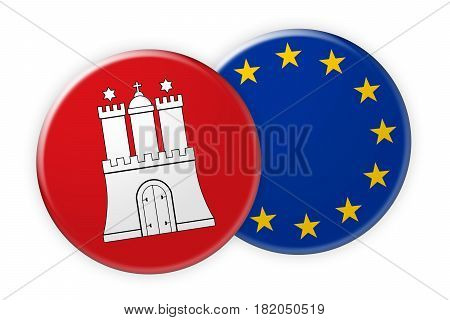 Germany News Concept: Hamburg Flag Button On EU Flag Button 3d illustration on white background