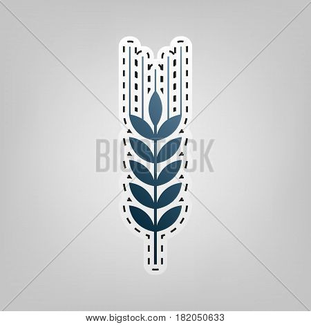 Wheat sign illustration. Spike. Spica. Vector. Blue icon with outline for cutting out at gray background.