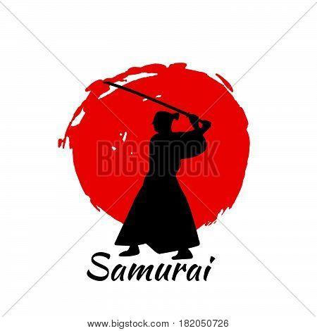 Japanese Samurai Warriors Silhouette. Vector Illustration.