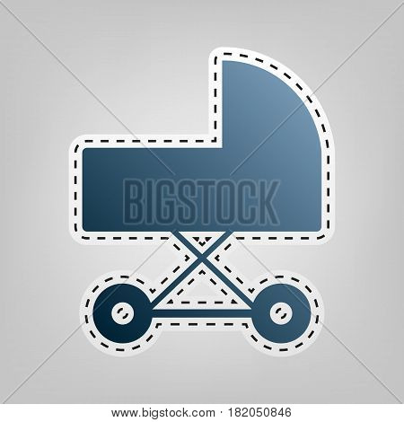 Pram sign illustration. Vector. Blue icon with outline for cutting out at gray background.