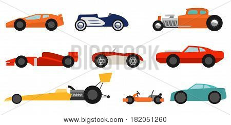 Flat style race cars set on a white background