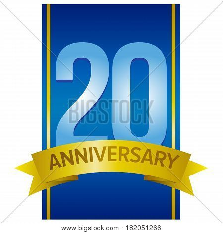 Vector label for 20th anniversary with large digits on blue background with golden stripes. Decorative design elements for twenty years celebration.