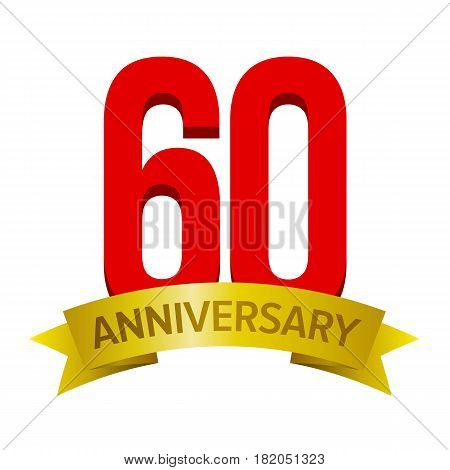 Big red number 60 with gold tape and text 'anniversary' below. Vector tag isolated on white background. Celebration label for sixty years