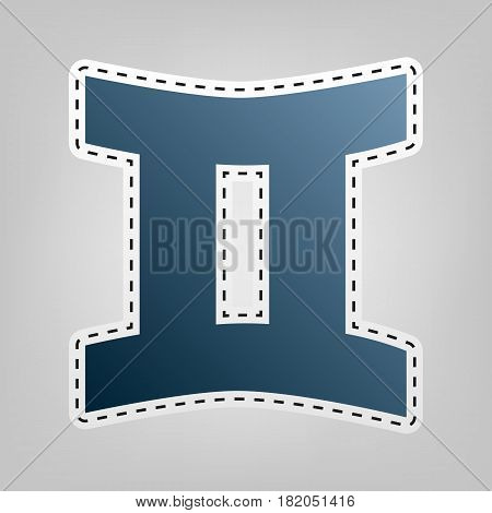 Gemini sign. Vector. Blue icon with outline for cutting out at gray background.