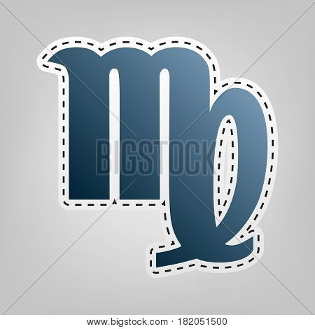 Virgo sign illustration. Vector. Blue icon with outline for cutting out at gray background.