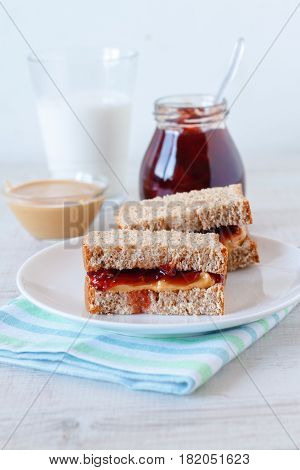 Peanut butter and jam sandwich with a glass of milk