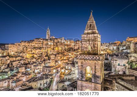 Ancient Town Of Matera At Dusk, Basilicata, Southern Italy
