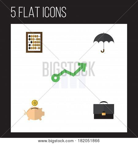 Flat Incoming Set Of Parasol, Growth, Portfolio And Other Vector Objects. Also Includes Calculator, Briefcase, Arrow Elements.