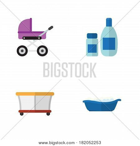 Flat Infant Set Of Bathtub, Playground, Stroller And Other Vector Objects. Also Includes Stroller, Cream, Children Elements.