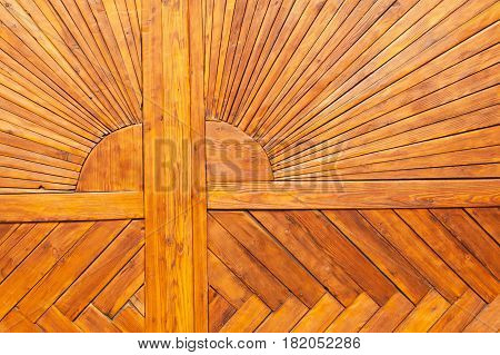 Wooden door of the castle. Old wooden boards with nails. Place for text