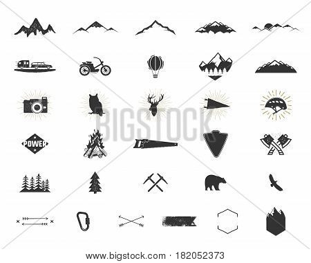 Outdoor adventure silhouette icons set. Climb and camping shapes collection. Simple black pictograms bundle. Use for creating logo, labels and other hiking, surf designs. Vector isolated on white