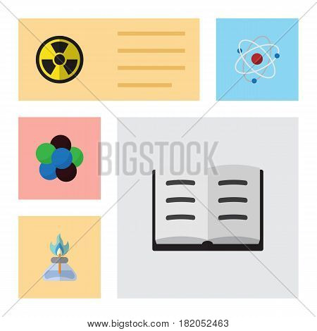 Flat Science Set Of Proton, Flame, Irradiation And Other Vector Objects. Also Includes Irradiation, Proton, Book Elements.