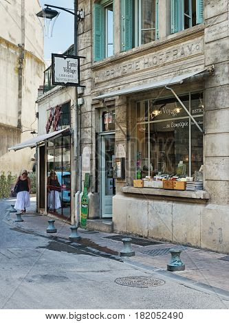 Avignon, France - September 9, 2016: Library also restaurant in the historic center of Avignon