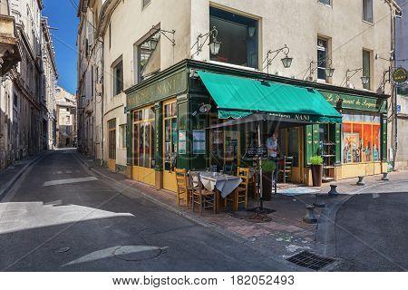 Avignon, France - September 9, 2016: Restaurant in the historic center of Avignon in France