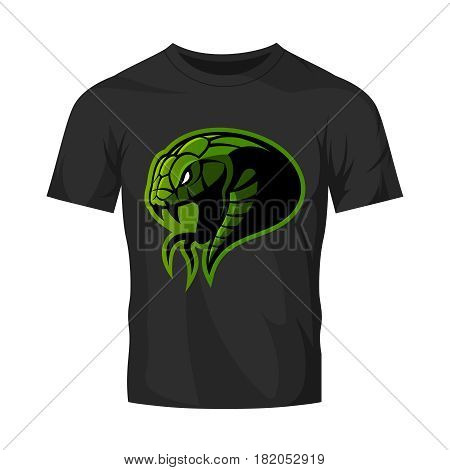 Furious green snake head sport vector logo concept isolated on black t-shirt mockup. Modern professional team badge design.Premium quality wild animal t-shirt tee print illustration.