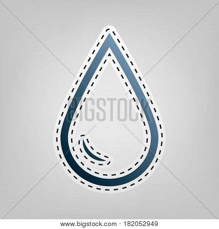 Drop of water sign. Vector. Blue icon with outline for cutting out at gray background.