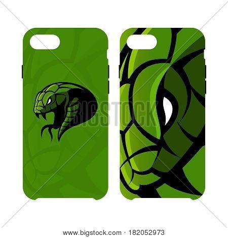 Furious green snake head sport vector logo concept smart phone case isolated on white background. Modern team badge design.Premium quality wild animal artwork cell phone cover illustration.