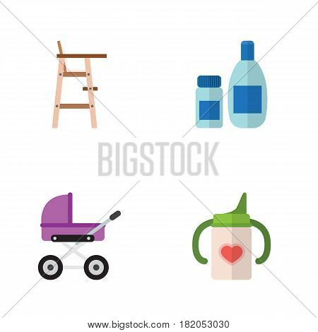 Flat Infant Set Of Stroller, Nursing Bottle, Child Chair And Other Vector Objects. Also Includes Baby, Chair, Lotion Elements.