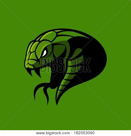 Furious green snake sport vector logo concept isolated on green background. Modern professional team badge design.Premium quality wild animal t-shirt tee print illustration.