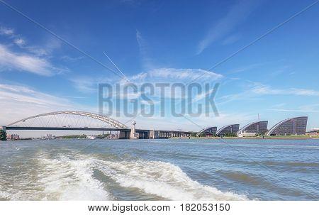 Rotterdam, Netherlands - August 18 2016: The infamous Van Brienenoordbrug is a bridge across the Nieuwe Maas to the east of Rotterdam in The Netherlands.