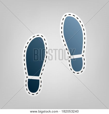 Imprint soles shoes sign. Vector. Blue icon with outline for cutting out at gray background.