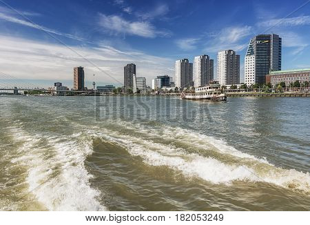Rotterdam, Netherlands - August 18 2016: Rotterdam skyline seen from the water Netherlands