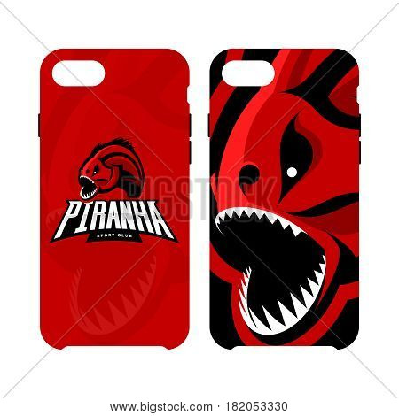 Furious piranha sport vector logo concept smart phone case isolated on white background. Modern team badge design.Premium quality wild fearsome fish artwork cell phone cover illustration.