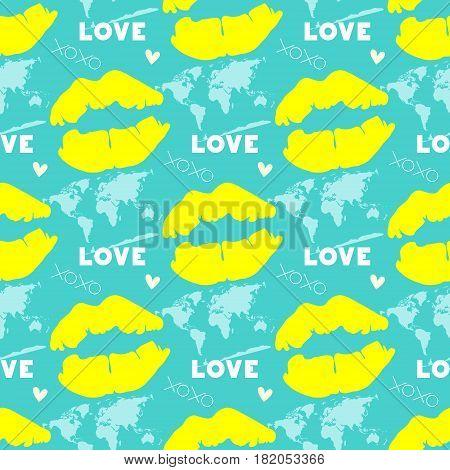 yellow lip mark on turquoise background, seamless pattern, vector illustration