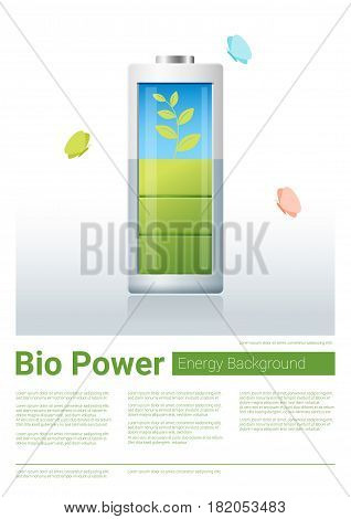 Green energy concept background with bio energy charging battery , vector , illustration