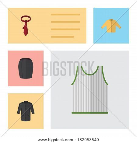 Flat Clothes Set Of Singlet, Banyan, Cravat And Other Vector Objects. Also Includes Necktie, Clothes, Woman Elements.