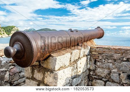 old cannon on the ramparts of Petrovac in Montenegro