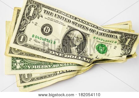 Rumpled dollar banknotes dollars money with white background
