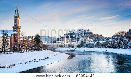 Panoramic View Of Salzburg Skyline With Festung Hohensalzburg And River Salzach In Winter, Salzburge