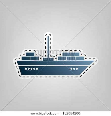 Ship sign illustration. Vector. Blue icon with outline for cutting out at gray background.